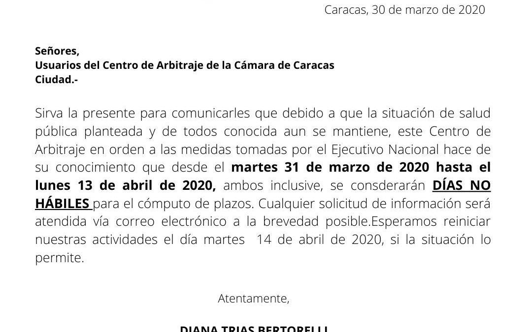 Días no hábiles 30/03/2020