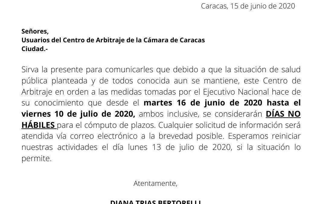 Días no hábiles 15/06/2020