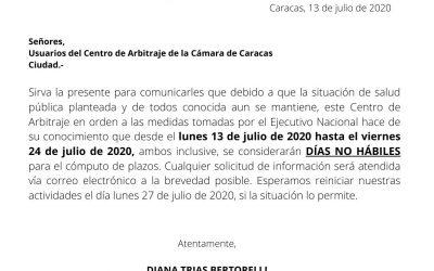 Días no hábiles 13/07/2020